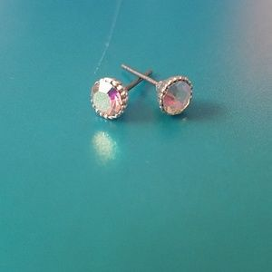 Small crystal and silver post earrings